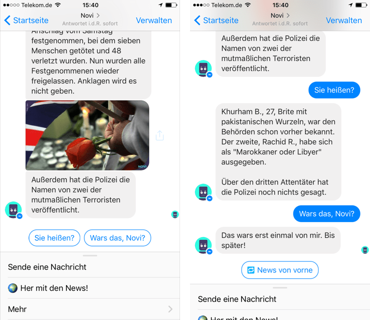Novi - Bot-Nachrichtendienst